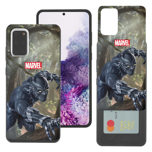 Galaxy S20 Case (6.2inch) Marvel Avengers Slim Slider Card Slot Dual Layer Holder Bumper Cover - Black Panther Jungle