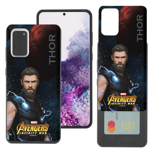 Galaxy Note20 Case (6.7inch) Marvel Avengers Slim Slider Card Slot Dual Layer Holder Bumper Cover - Infinity War Thor