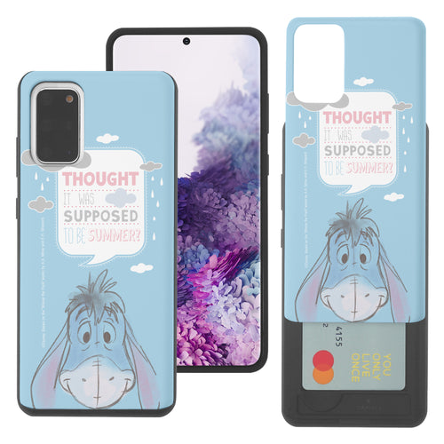 Galaxy Note20 Case (6.7inch) Disney Pooh Slim Slider Card Slot Dual Layer Holder Bumper Cover - Words Eeyore Face