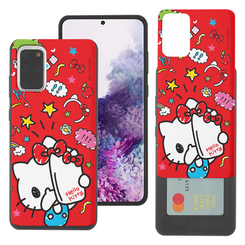 Galaxy S20 Ultra Case (6.9inch) Sanrio Slim Slider Card Slot Dual Layer Holder Bumper Cover - Selfie Hello Kitty