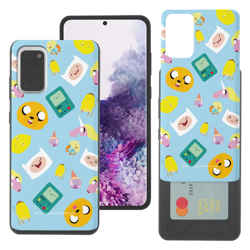 Galaxy Note20 Ultra Case (6.9inch) Adventure Time Slim Slider Card Slot Dual Layer Holder Bumper Cover - Cuty Pattern Blue