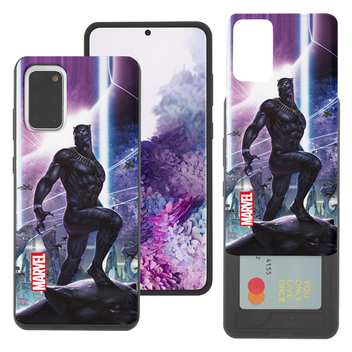 Galaxy S20 Case (6.2inch) Marvel Avengers Slim Slider Card Slot Dual Layer Holder Bumper Cover - Black Panther Stand