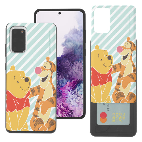 Galaxy S20 Ultra Case (6.9inch) Disney Pooh Slim Slider Card Slot Dual Layer Holder Bumper Cover - Stripe Pooh Tigger