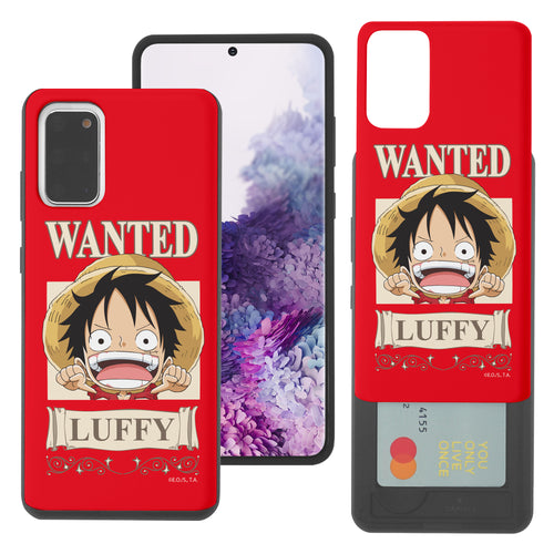 Galaxy S20 Plus Case (6.7inch) ONE PIECE Slim Slider Card Slot Dual Layer Holder Bumper Cover - Mini Luffy