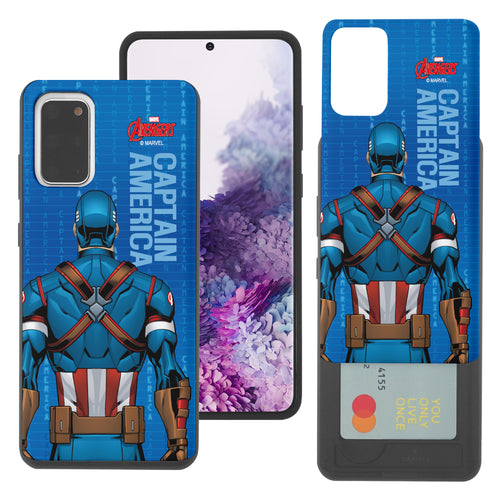 Galaxy S20 Case (6.2inch) Marvel Avengers Slim Slider Card Slot Dual Layer Holder Bumper Cover - Back Captain America