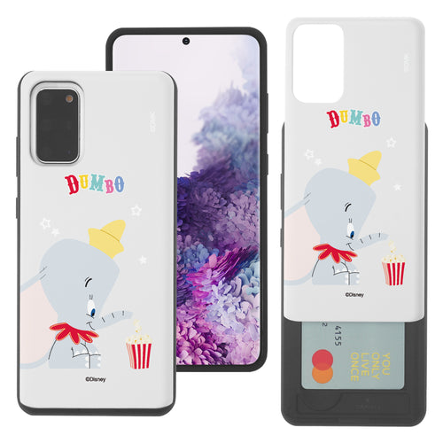 Galaxy S20 Case (6.2inch) Disney Dumbo Slim Slider Card Slot Dual Layer Holder Bumper Cover - Dumbo Popcorn