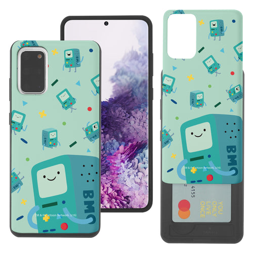 Galaxy Note20 Ultra Case (6.9inch) Adventure Time Slim Slider Card Slot Dual Layer Holder Bumper Cover - Cuty Pattern BMO