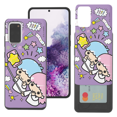 Galaxy S20 Ultra Case (6.9inch) Sanrio Slim Slider Card Slot Dual Layer Holder Bumper Cover - Selfie Little Twin Stars