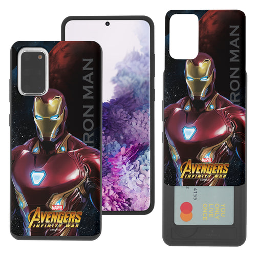 Galaxy S20 Case (6.2inch) Marvel Avengers Slim Slider Card Slot Dual Layer Holder Bumper Cover - Infinity War Iron Man