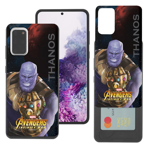 Galaxy S20 Case (6.2inch) Marvel Avengers Slim Slider Card Slot Dual Layer Holder Bumper Cover - Infinity War Thanos