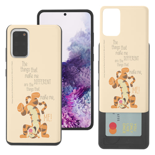 Galaxy S20 Case (6.2inch) Disney Pooh Slim Slider Card Slot Dual Layer Holder Bumper Cover - Words Tigger
