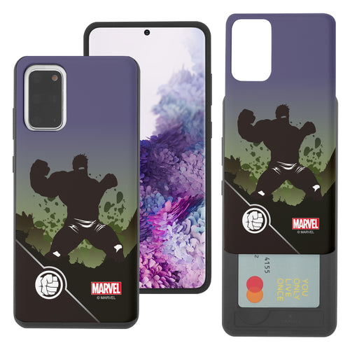 Galaxy S20 Case (6.2inch) Marvel Avengers Slim Slider Card Slot Dual Layer Holder Bumper Cover - Shadow Hulk