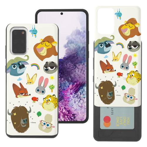 Galaxy Note20 Case (6.7inch) Disney Zootopia Dual Layer Card Slide Slot Wallet Bumper Cover - Zootopia Small