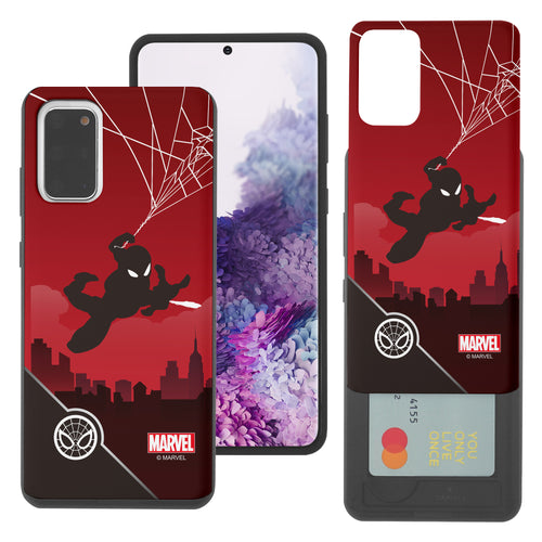 Galaxy S20 Case (6.2inch) Marvel Avengers Slim Slider Card Slot Dual Layer Holder Bumper Cover - Shadow Spider Man