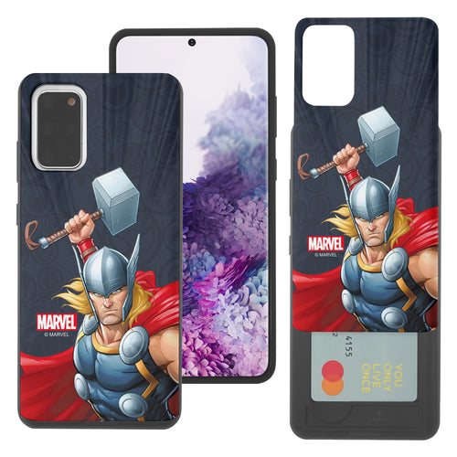 Galaxy S20 Case (6.2inch) Marvel Avengers Slim Slider Card Slot Dual Layer Holder Bumper Cover - Illustration Thor