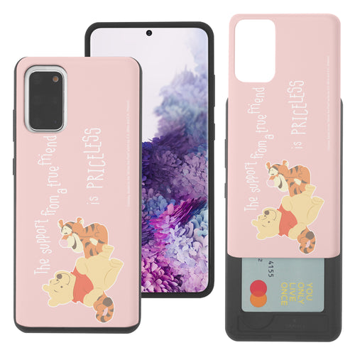 Galaxy S20 Case (6.2inch) Disney Pooh Slim Slider Card Slot Dual Layer Holder Bumper Cover - Words Pooh Tigger