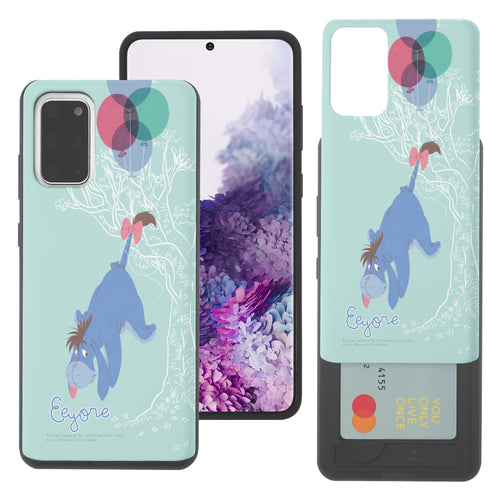 Galaxy S20 Case (6.2inch) Disney Pooh Slim Slider Card Slot Dual Layer Holder Bumper Cover - Balloon Eeyore