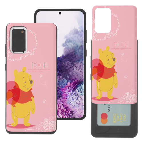 Galaxy S20 Case (6.2inch) Disney Pooh Slim Slider Card Slot Dual Layer Holder Bumper Cover - Balloon Pooh Ground