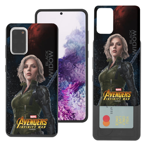 Galaxy S20 Case (6.2inch) Marvel Avengers Slim Slider Card Slot Dual Layer Holder Bumper Cover - Infinity War Black Widow