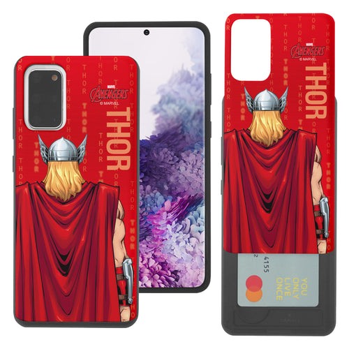 Galaxy S20 Case (6.2inch) Marvel Avengers Slim Slider Card Slot Dual Layer Holder Bumper Cover - Back Thor