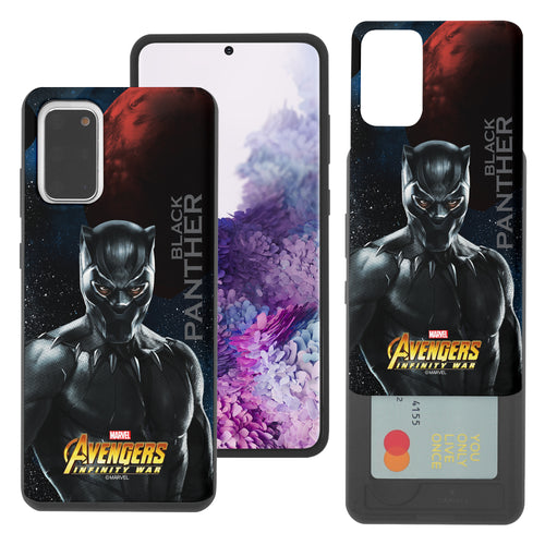 Galaxy S20 Case (6.2inch) Marvel Avengers Slim Slider Card Slot Dual Layer Holder Bumper Cover - Infinity War Black Panther