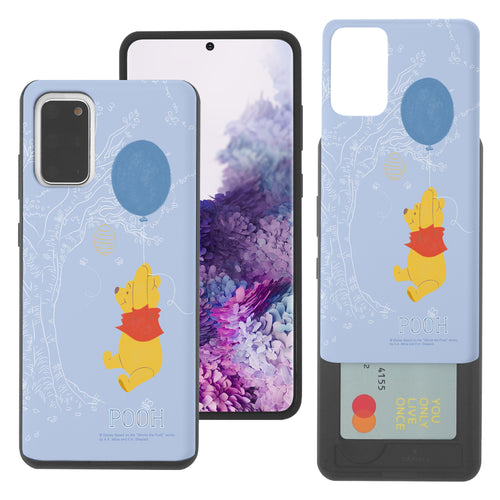 Galaxy S20 Ultra Case (6.9inch) Disney Pooh Slim Slider Card Slot Dual Layer Holder Bumper Cover - Balloon Pooh Sky