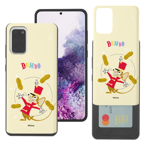 Galaxy S20 Case (6.2inch) Disney Dumbo Slim Slider Card Slot Dual Layer Holder Bumper Cover - Dumbo Timothy