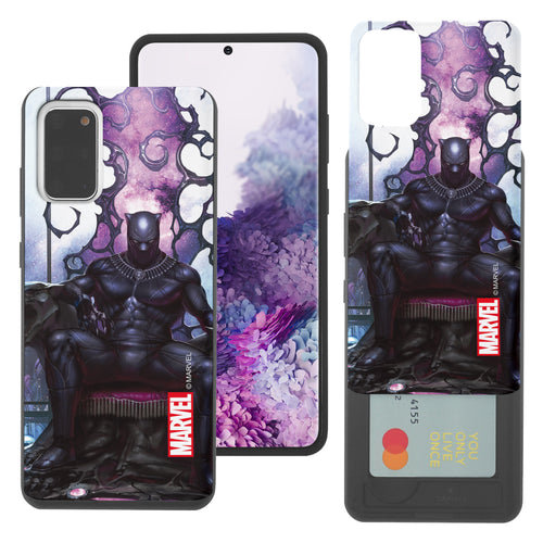 Galaxy S20 Case (6.2inch) Marvel Avengers Slim Slider Card Slot Dual Layer Holder Bumper Cover - Black Panther Sit