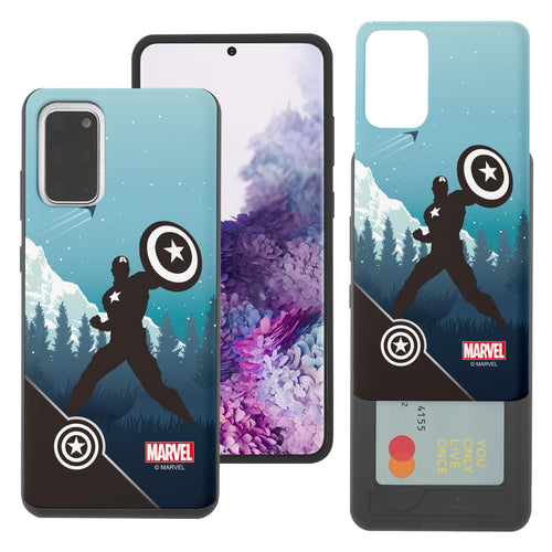 Galaxy S20 Case (6.2inch) Marvel Avengers Slim Slider Card Slot Dual Layer Holder Bumper Cover - Shadow Captain America