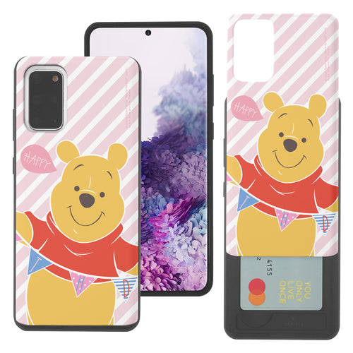 Galaxy S20 Case (6.2inch) Disney Pooh Slim Slider Card Slot Dual Layer Holder Bumper Cover - Stripe Pooh Happy