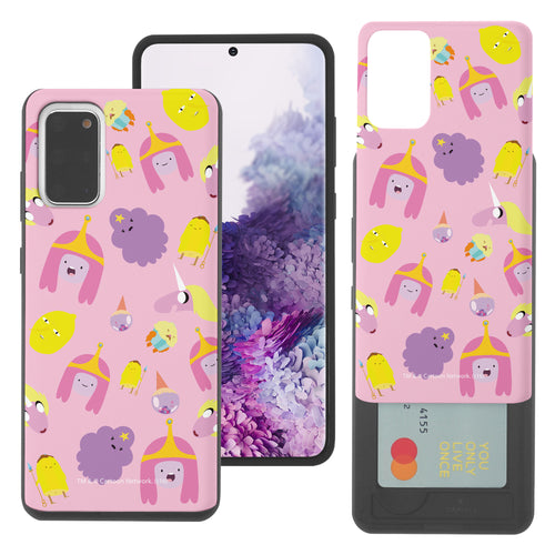 Galaxy Note20 Ultra Case (6.9inch) Adventure Time Slim Slider Card Slot Dual Layer Holder Bumper Cover - Cuty Pattern Pink