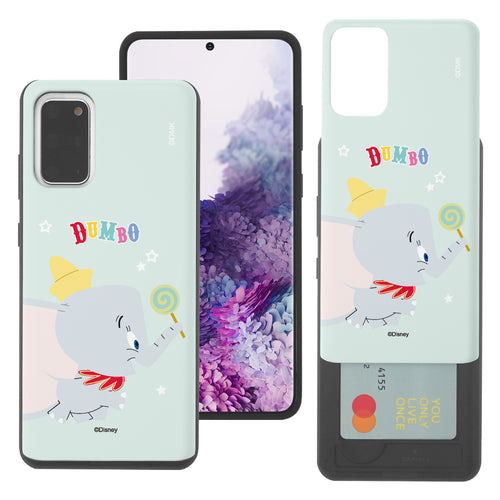 Galaxy S20 Case (6.2inch) Disney Dumbo Slim Slider Card Slot Dual Layer Holder Bumper Cover - Dumbo Candy