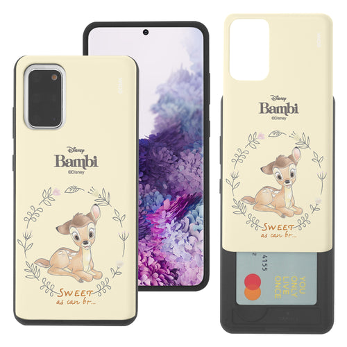 Galaxy S20 Case (6.2inch) Disney Bambi Slim Slider Card Slot Dual Layer Holder Bumper Cover - Full Bambi