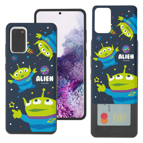 Galaxy Note20 Case (6.7inch) Toy Story Slim Slider Card Slot Dual Layer Holder Bumper Cover - Pattern Alien Space