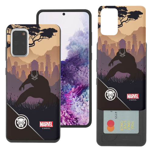 Galaxy S20 Case (6.2inch) Marvel Avengers Slim Slider Card Slot Dual Layer Holder Bumper Cover - Shadow Black Panther