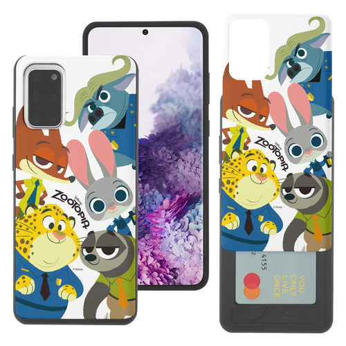 Galaxy S20 Case (6.2inch) Disney Zootopia Dual Layer Card Slide Slot Wallet Bumper Cover - Zootopia Big