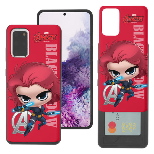 Galaxy S20 Case (6.2inch) Marvel Avengers Slim Slider Card Slot Dual Layer Holder Bumper Cover - Mini Black Widow
