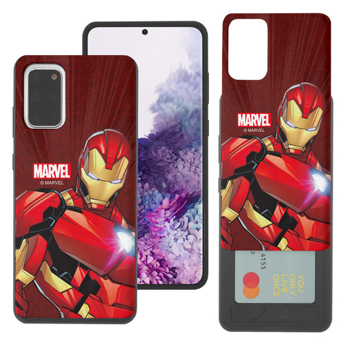 Galaxy S20 Case (6.2inch) Marvel Avengers Slim Slider Card Slot Dual Layer Holder Bumper Cover - Illustration Iron Man