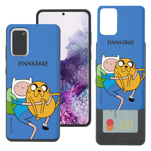 Galaxy Note20 Ultra Case (6.9inch) Adventure Time Slim Slider Card Slot Dual Layer Holder Bumper Cover - Lovely Finn and Jake