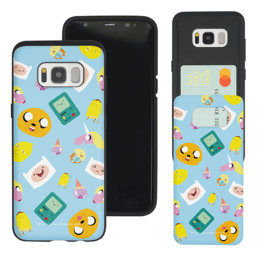 Galaxy S8 Plus Case Adventure Time Slim Slider Card Slot Dual Layer Holder Bumper Cover - Cuty Pattern Blue