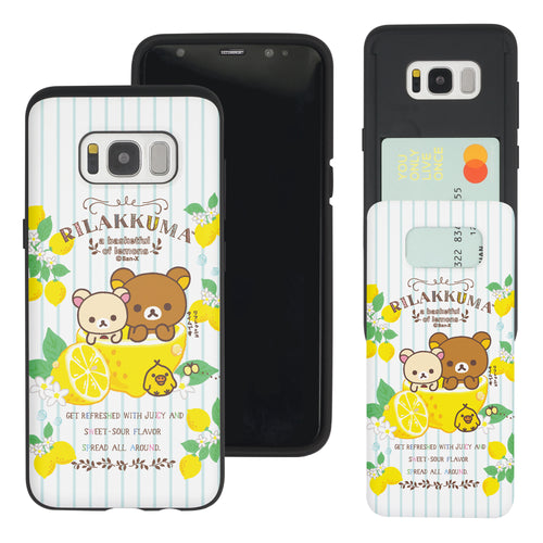 Galaxy S8 Plus Case Rilakkuma Slim Slider Card Slot Dual Layer Holder Bumper Cover - Rilakkuma Lemon