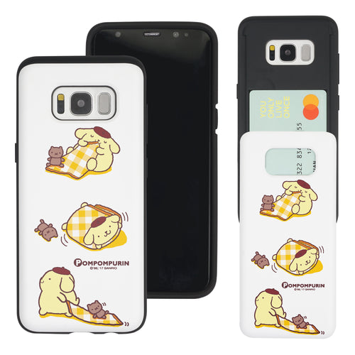 Galaxy S8 Case (5.8inch) Sanrio Slim Slider Card Slot Dual Layer Holder Bumper Cover - Pompompurin 3