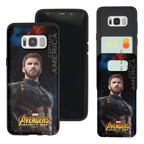 Galaxy S7 Edge Case Marvel Avengers Slim Slider Card Slot Dual Layer Holder Bumper Cover - Infinity War Captain America