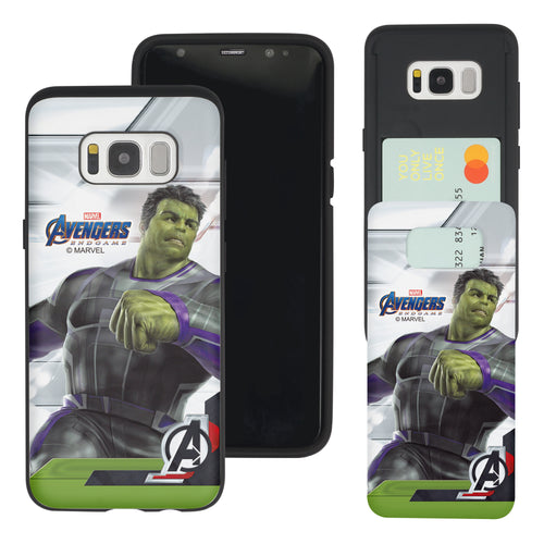 Galaxy S7 Edge Case Marvel Avengers Slim Slider Card Slot Dual Layer Holder Bumper Cover - End Game Hulk