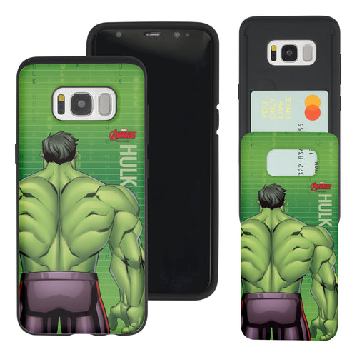 Galaxy S7 Edge Case Marvel Avengers Slim Slider Card Slot Dual Layer Holder Bumper Cover - Back Hulk