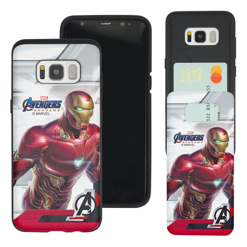Galaxy S7 Edge Case Marvel Avengers Slim Slider Card Slot Dual Layer Holder Bumper Cover - End Game Iron Man