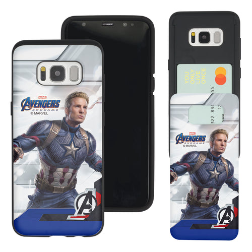 Galaxy S7 Edge Case Marvel Avengers Slim Slider Card Slot Dual Layer Holder Bumper Cover - End Game Captain America