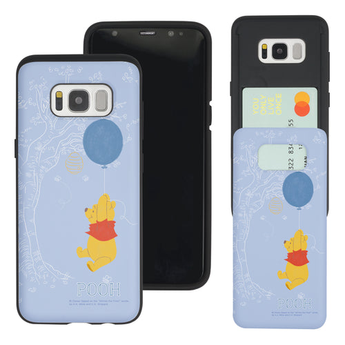 Galaxy S7 Edge Case Disney Pooh Slim Slider Card Slot Dual Layer Holder Bumper Cover - Balloon Pooh Sky