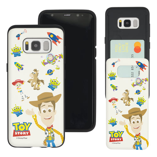Galaxy S8 Plus Case Toy Story Slim Slider Card Slot Dual Layer Holder Bumper Cover - Pattern Woody