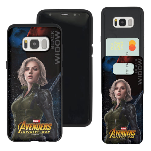 Galaxy S7 Edge Case Marvel Avengers Slim Slider Card Slot Dual Layer Holder Bumper Cover - Infinity War Black Widow